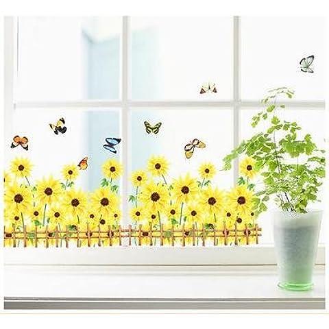 GU LIANG Finestra Francese Stickers Sun Flower 2