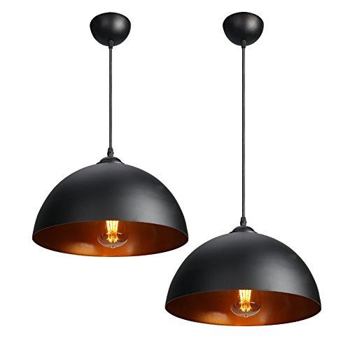 CCLIFE Set de 2 Suspension Luminaire Rétroindustriel- Plafonnier luminaire métalindustrielles - Suspension Luminaire Plafond, Couleur:Black