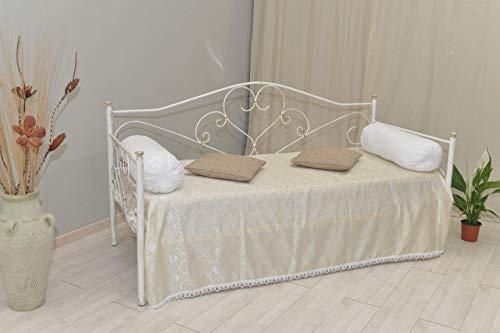 Divano letto in ferro battuto completo di rete a doghe modello Sogno bianco decorato oro