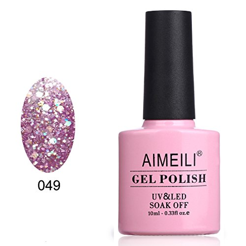AIMEILI Smalto Semipermente per Unghie in Gel UV LED Soak Off Smalti per Unghie Colori per Manicure con Brillantini - Princess (049) Glitter 10ml