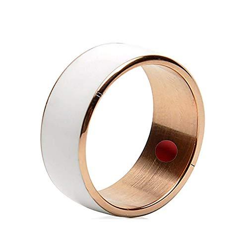 JXFS Smart NFC Ring, multifunktionaler wasserdichter intelligenter Ring Smart Wear Finger Digital Ring für Android und Windows Phonesl Männer und Frauen-White-11#