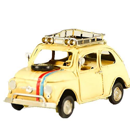 UniqueGift Metall Collectible Vintage Stil Ecru FIAT 500Modell-Deko Collectible Spielzeug Auto 500-Herren Geschenk-Retro Classic Car Model-Italienisch Fahrzeug Ornament