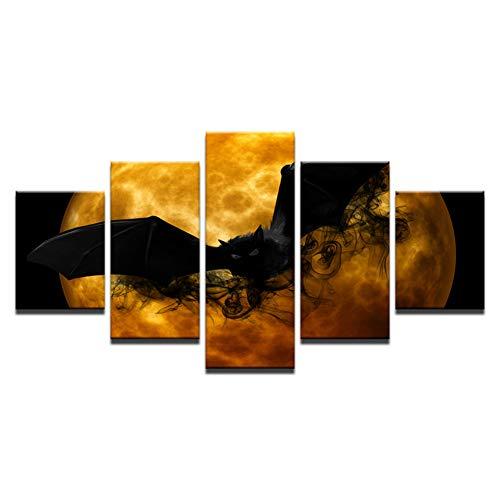 CNCN Fünf Leinwandbilder Leinwanddrucke Poster Wohnzimmer Wandkunst 5 Stücke Verrückte Halloween Gemälde Schwarze Fledermaus Orange Mond Abstrakte Bilder Wohnkultur