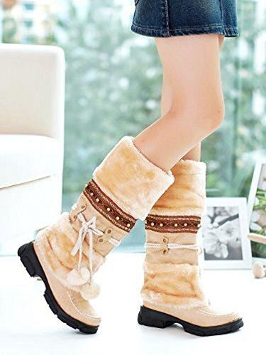 Yiiquan Donna Stivali da Neve Spessore Inferiore Casual Caldo Lace-up Stivaletti Scarpe Beige