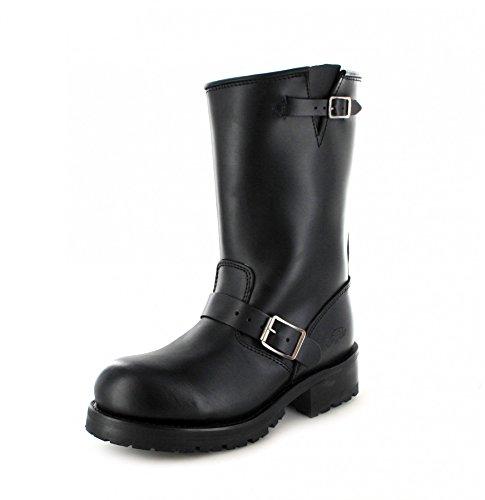 Buffalo Boots 1808 Black Bikerstiefel für Damen und Herren Schwarz Engineerstiefel, Groesse:48