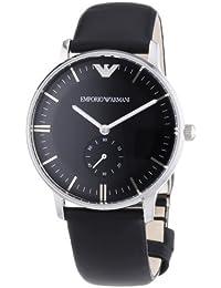 Emporio Armani AR0382 - Reloj analógico de cuarzo para hombre, correa de cuero color negro