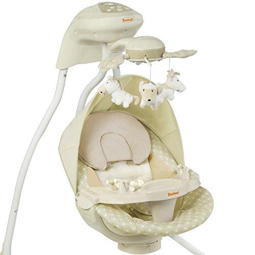 Elektrische Babyschaukel Modell Dodoli mit Musikfunktion Lichteffekte Mobile verstellbarer Sitz Timer Beige Mint