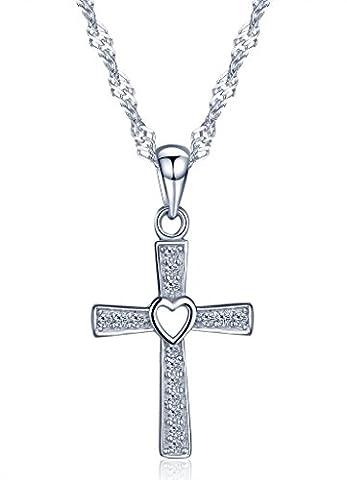 Infinite U Collier et pendentif femme en argent 925 la croix et cœur ciselé orné zircon couleur d