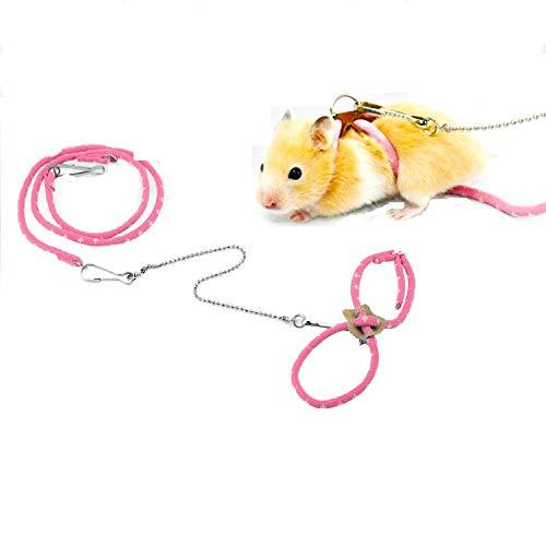 Qiterr Hamster-Geschirr, Haustier verstellbare kleine Ratte, Maus, Führleine mit Finder Bell (Rosa) Finder Bell