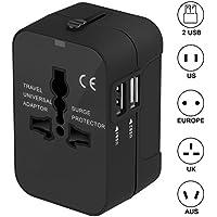 Adapteur de Voyage Chargeur Convertisseur - SURWELL Voyage Adapteur Chargeur USB Convertisseur avec 2 Ports USB Multifonction pour UK US DE EU CN environ 180 Pays-Noir