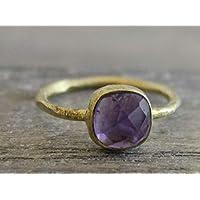 Petite Cushion Cut Amethyst vergoldet Sterling Silber Ring US-Größe 8 / Diameter 18.2
