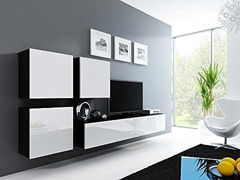 Wohnwand ' Vigo 23' Hochglanz Hängeschrank Lowboard Cube , Farbe:Schwarz . Weiß