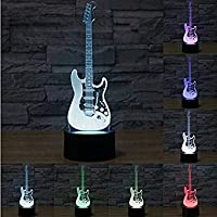 RXHK 3D Electric Guitar Music Note Instrument Piano Night Light 7 Color LED Change Touch Switch Table Desk Lamp Art Sculpture Light Christmas Gift Valentines Kids Gifts Decoration