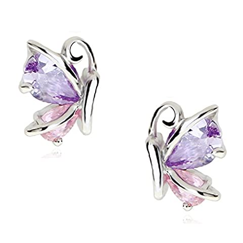 18 ct White Gold Plated Stud Earrings Zirconia Pink Purple Austrian Crystals Butterflies