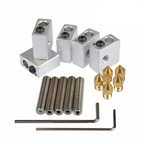 YOTINO 5x boquilla de teflón garganta, 30 mm de largo + 5x boquillas de extrusión de latón, 0,4 mm + 5x bloque de calentador de aluminio para MK7, MK8 impresora MakerBot RepRap 3D + 1 x llave Allen M2 + 1 x llave Allen M3