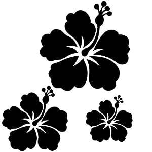 Sticker autocollant 3 fleurs d 39 hibiscus pour votre auto - Dessin d hibiscus ...