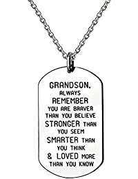 Stainless Steel Pendant Necklace Grandson Always Remember You are Braver Stronger Smarter than you think