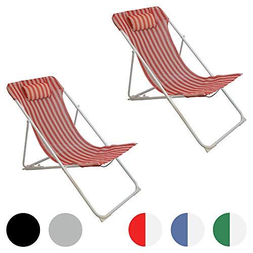 Harbour Housewares, Sedia a Sdraio da Giardino, in Metallo, 3 Posizioni, a Righe Rosse/Bianche - Set da 2
