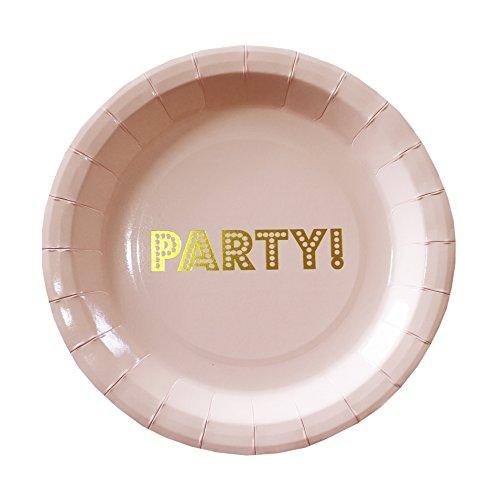 Ginger Ray Pastell Perfektion und Gold Vereitelt Wimpelkette Happy Birthday, Pink Papierteller pastellrosa