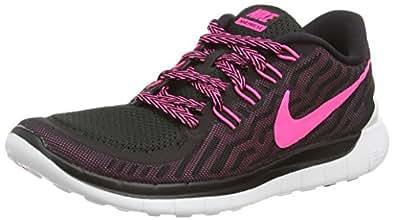 Nike Men, wmns free 5.0, multi (black/pink pow-pnk fl-pnk glw), 8,5