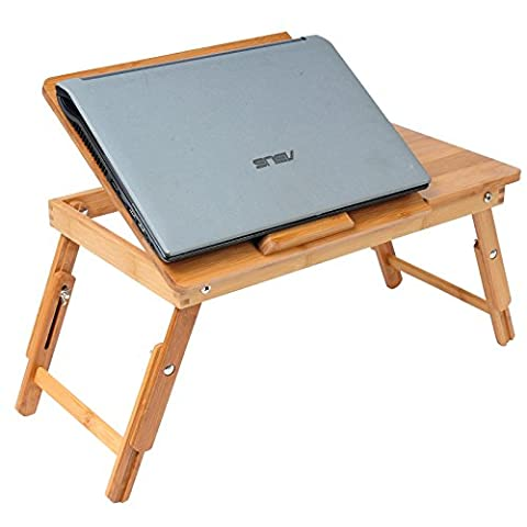 WOLTU BT09br-a Bamboo Foldable Laptop Desk Notebook Computer Stand Portable Bed Tray Height Adjustable,Work Breakfast Study Game Desk