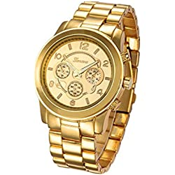 Reloj de pulsera - Geneva reloj de pulsera unisexo de banda de acero inoxidable de color oro