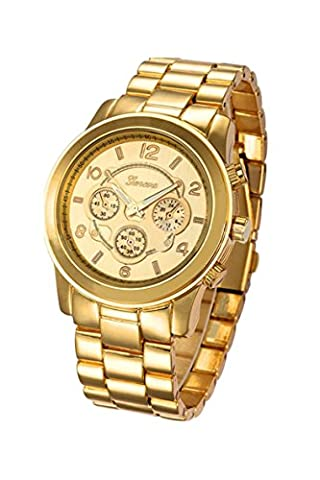 Montre-bracelet - Geneva Unisexe montre-bracelet de bracelet en acier inoxydable or