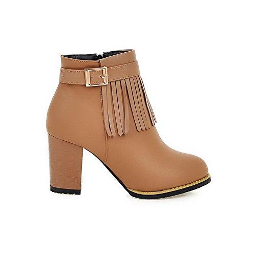 AllhqFashion Damen Rund Zehe Rein Niedrig-Spitze Hoher Absatz Stiefel mit Fransig Aprikosen Farbe