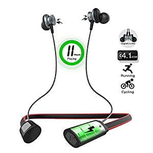 jogger Magnetic Foldable Wireless Bluetooth Jogger Earphone with 3D Stereo Noice Cancel and Microphone(Multicolour)