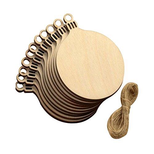 ko Holz Scheiben Bulk mit Löchern für das Handwerk Aufsteller unlackiert Holz Weihnachten Einbauöffnungen Ornaments zu malen 10 pcs ()