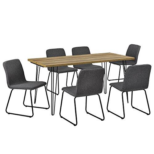 [en.CASA] Table à Manger Design - Bois avec Pieds d'épingle à Cheveux et 6 chaises Modernes - Gris foncé