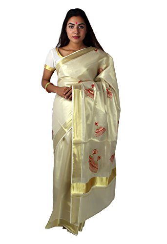K S Collection Women's Cotton unique designer Embroided kerala saree KSC-086(off-white)