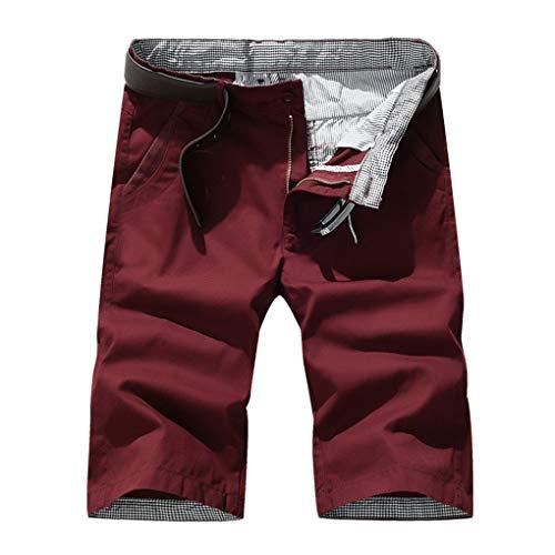 Große Größe Gerade Shorts für Herren/Skxinn Männer Sommer Kurze Hose Übung Overalls Freizeithosen Casual Sport Slim Fit Hosen Regular Fit S-7XL Ausverkauf(Rot,6XL)