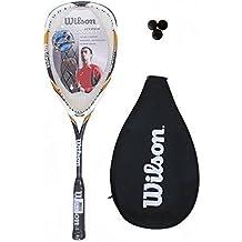 Wilson Hyper Hammer 145 - Raqueta de squash (funda y 3 pelotas incluidas), color rojo