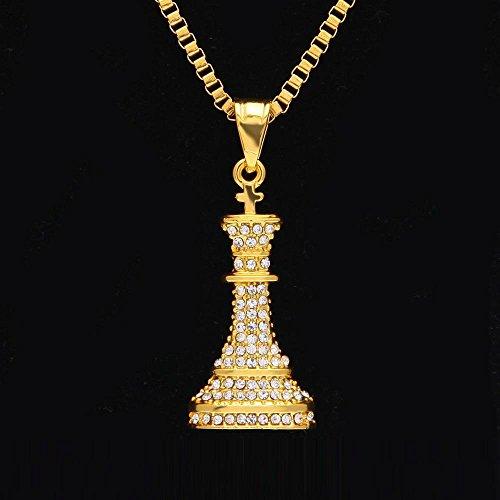 Aoligei Collar Colgante con diamantes - Joyería Ajedrez