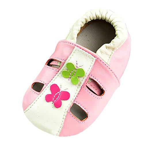 Freefisher Baby Lauflernschuhe, Krabbelschuhe, Babyschuhe, Sommer Kollektion Schmetterling Rosa