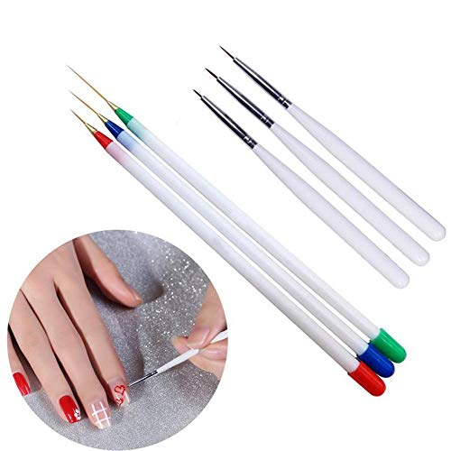 LAMEIDA Nail Art Brush Tools 6Pcs Nail Supplies Nail Brush Pintura Pen Flower Liner Dibujo pluma de aguja larga y corta