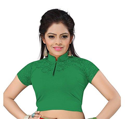 Half gip collar neck cotton Lycra readymade blouse (Dark Green)