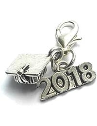 Graduación 2017~ gorro de graduación–mortero Junta Clip en encanto con 2017encanto y Organza bolsa de regalo por Libby 's Market Place