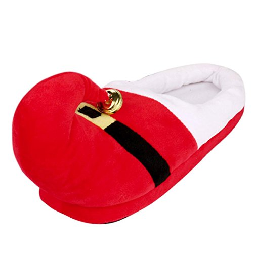 Hirolan Christmas Slippers Shoes Unisex Plush Cotton fashion Home Slippers Winter Warm Indoor 18cm to 31cm (Red, 23cm)