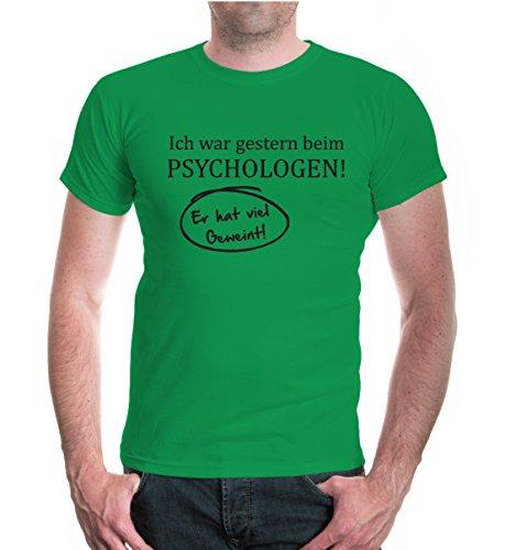 buXsbaum® T-Shirt Ich war gestern beim Psychologen! Kellygreen-Black