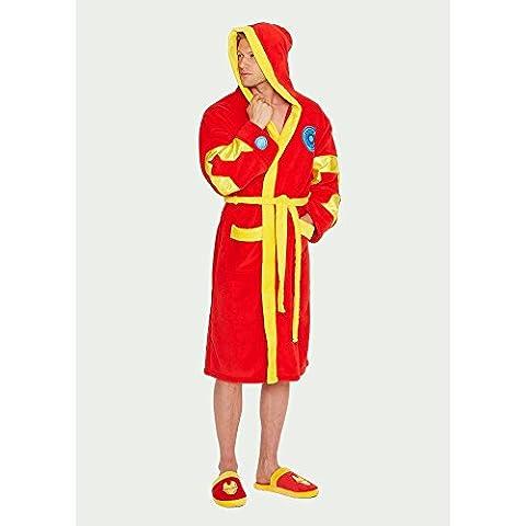 Hommes Marvel Avengers Iron Man Print Rouge Adulte Robe de chambre Peignoir