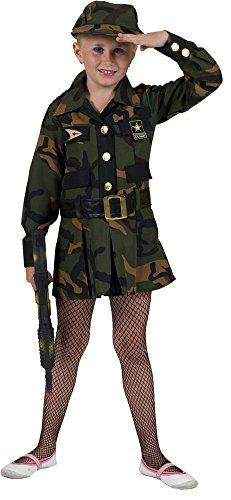 Camouflage Soldatin Kostüm für Mädchen - Gr. 128 - Mottoparty Fasching Kleid Dschungel Safari