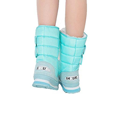 Fortuning's JDS Femmes Fille's Hiver Imperméable Velcro Velu coloré Sakura bottes de neige Bottes courtes Bottes de l'espace Bleu