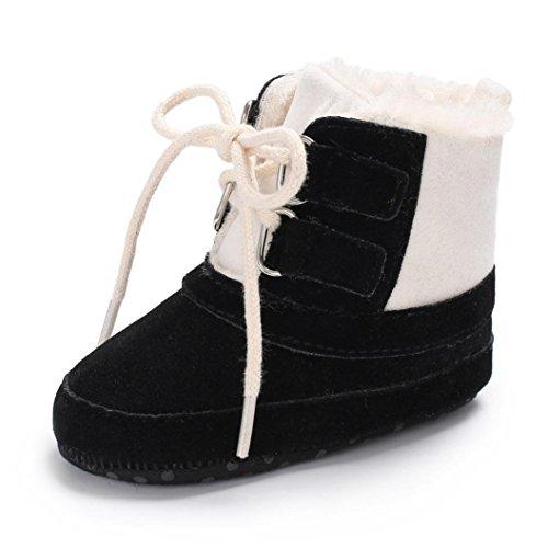 Baby warme Stiefel,BeautyTop Baby Boy Soft Booties Schneeschuhe Infant Kleinkind Neugeborenen Erwärmung Schuhe (12CM/6~12 Monate, Schwarz)