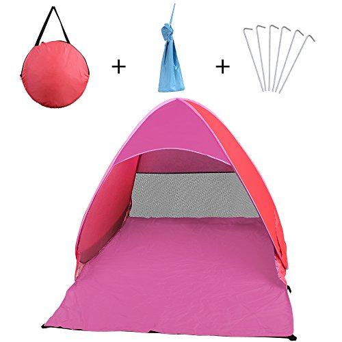 NAVESTAR POP UP Strandzelt Strandmuschel mit UV Schutz 50+, Tragbares Strand Zelt in Blau, Rosa, Grün, Geeignet für Familie, Kinder, Strand, Wiese, Garteb, 160X127X115 cm Outdoor Beach Tent (Rosa)