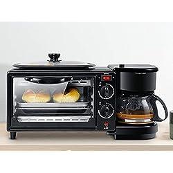 Mini grille-pain 3 En 1 Électrique Petit Déjeuner Machine Multifonction Cafetière Poêle À Frire Mini Four Ménage Pain Four À Pizza
