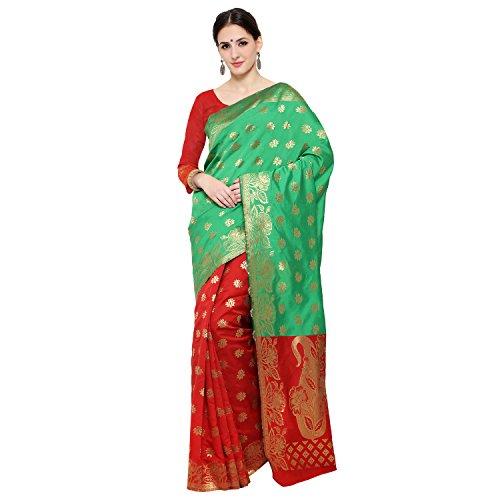Women's Tassar Silk Traditional Saree Unstitched Blouse Design (Pari Banarasi Green Red_Green...