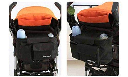 Borsa organizer espansibile per passeggino, per pannolini e altro, Tela, Orange, W 11.8 inch X L 5.9 inch X H 6.2 inch Orange