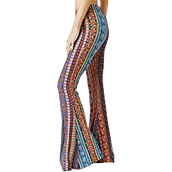YUHX Mujeres Boho Floral Hippie Llamarada Pantalones Vendimia Cintura elástica Pantalones de Campana Pantalones Largos